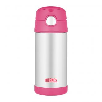 Thermos termoska so slamkou Ružová, 355ml