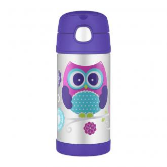 Thermos termoska so slamkou Fialová Sova, 355ml