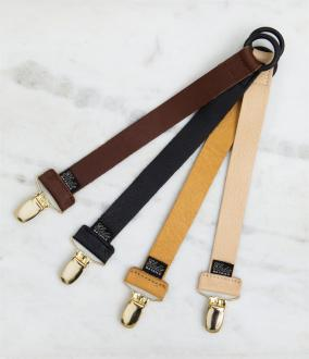 Exclusive Collection Leather Pacifier Clip - Cognac