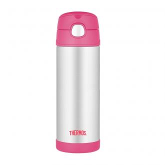 Thermos termoska so slamkou Ružová , 470ml